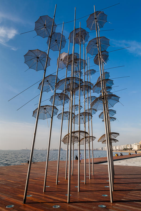 Thessaloniki umbrellas sculpture, 2014. Thessaloniki umbrellas sculpture (placed at the new position, 2014) on a sunny winter day royalty free stock photos