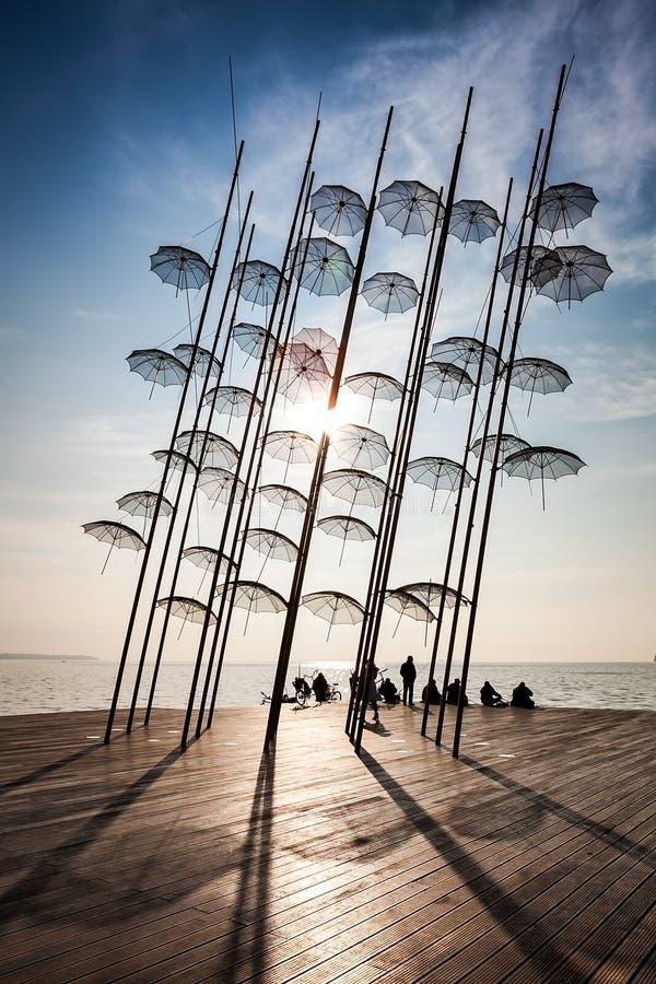 Thessaloniki umbrellas sculpture stock photography