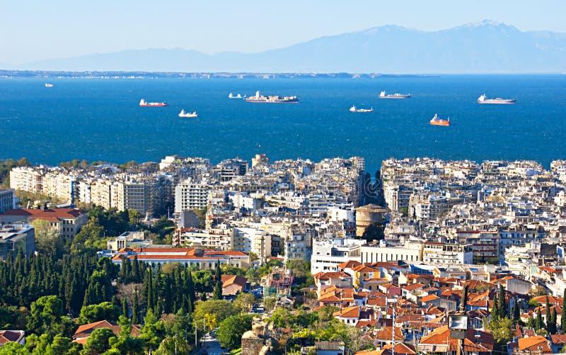 Thessaloniki vanaf de bovenkant royalty-vrije stock afbeelding