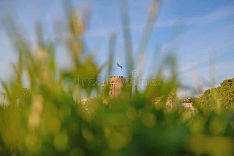 Thessaloniki vit tornMakedonien huvudstad royaltyfri bild
