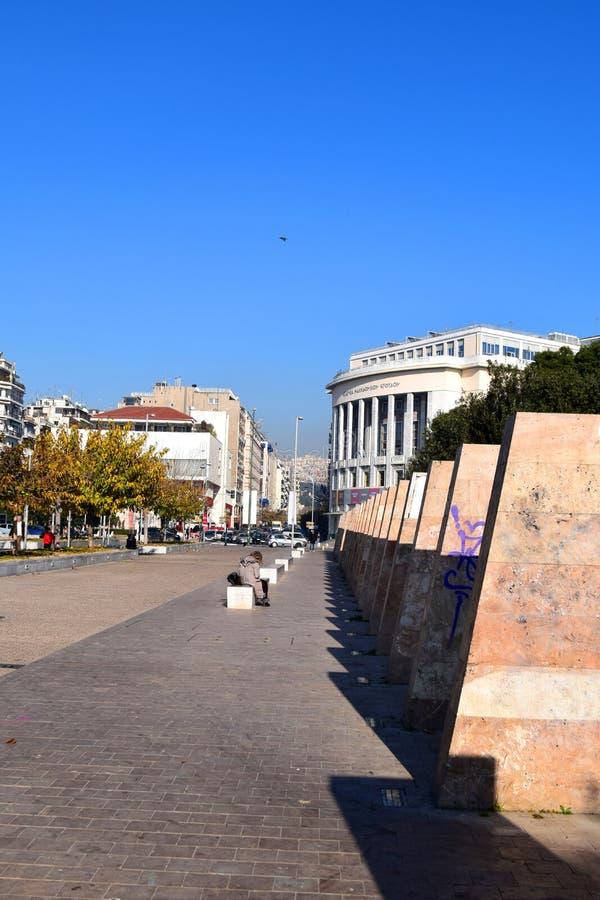 Thessaloniki, Greece - December 28 2015: Modern sculptures on Thessaloniki seafront. royalty free stock photography