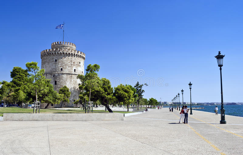 Thessaloniki waterkant, Griekenland royalty-vrije stock fotografie