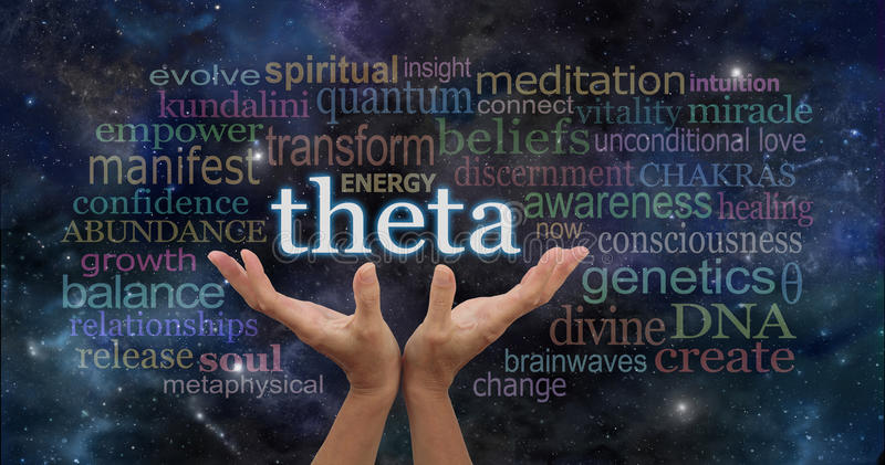 Theta Brainwaves Meditation Word Cloud. Female hands reaching up to the word THETA surrounded by relevant words on a dark blue night sky space background with royalty free stock image
