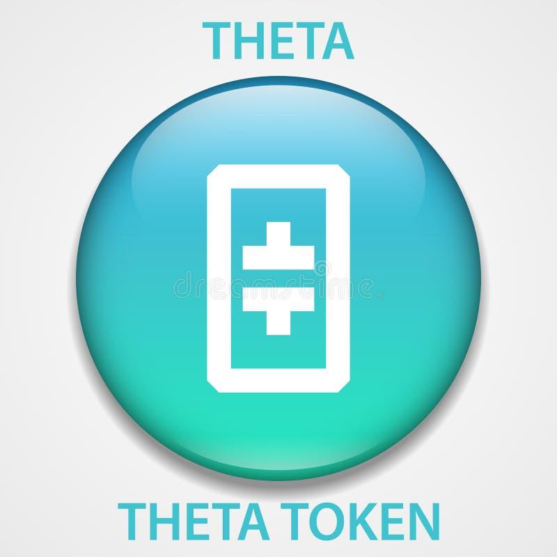 Theta-Scheinmünze cryptocurrency blockchain Ikone Virtuelles elektronisches, Internet-Geld oder cryptocoin Symbol, Logo stock abbildung