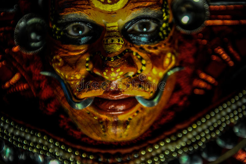 Theyyam is a ritualistic folk art form of Kerala. India royalty free stock image