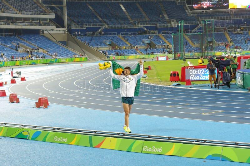 Thiago Braz da Silva celebrates gold medal in men's pole vault at Rio 2016 Olympics royalty free stock images