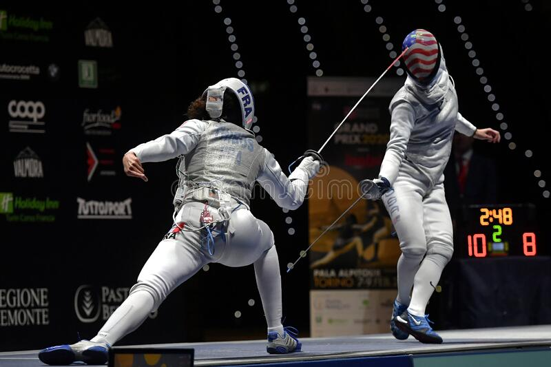Sword FIE Fencing Grand Prix 2020 - Inalpi Trophy royalty free stock photo