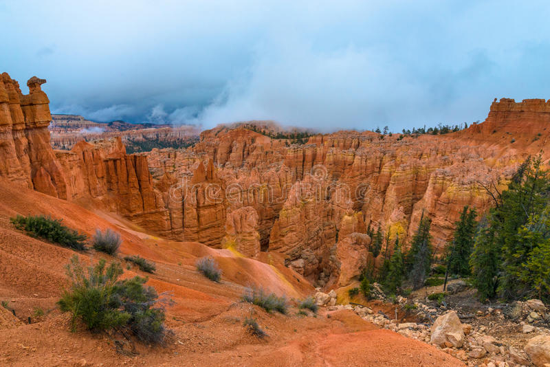 Thick Clouds covering Peek-a-boo loop trail Bryce Canyon. Peek-a-boo loop trail Bryce Canyon National Park stock photography
