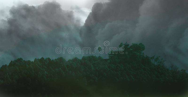 Thick Clouds over Hill royalty free stock photos