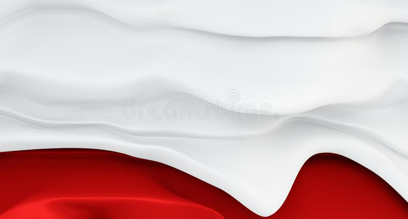 Thick cream dripping down the red jam. Abstract melting red wall with a current white influx on top. royalty free illustration