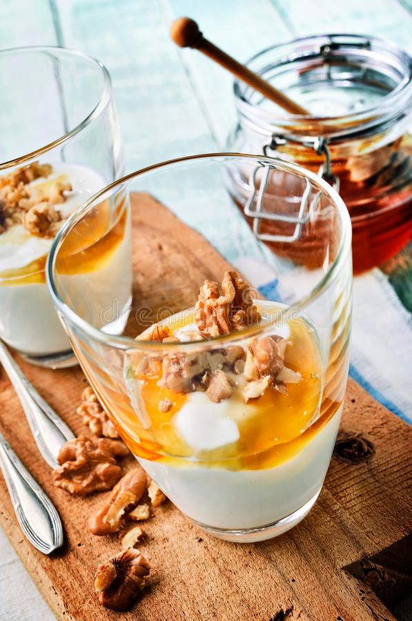 Thick creamy Greek yogurt with honey and nuts royalty free stock photo