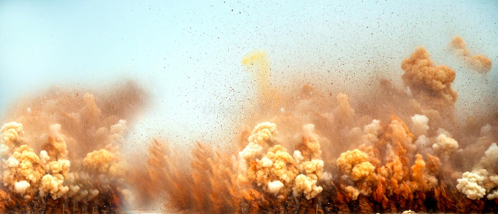 Thick dust clouds and particle after the blast stock photo