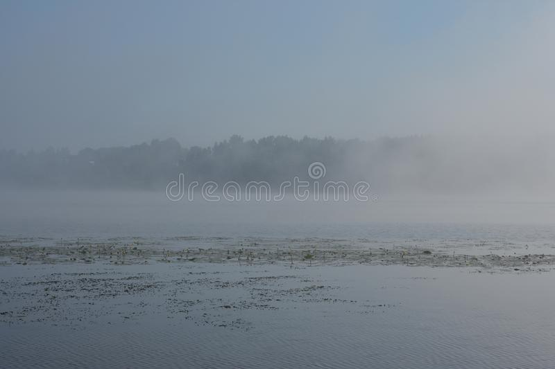 Thick fog over the smooth river, in the distance you can see the forest village rows of water royalty free stock photos