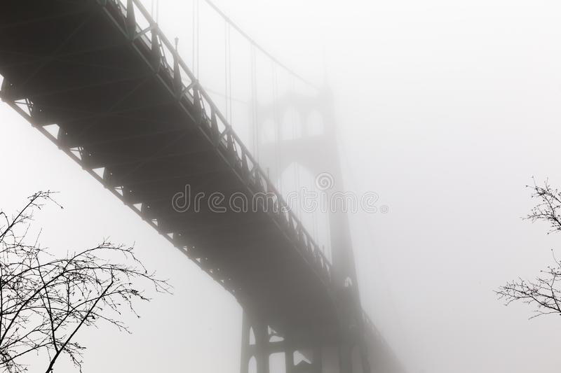 St. John`s Bridge in a Foggy Winter Day at Cathedral Park stock image