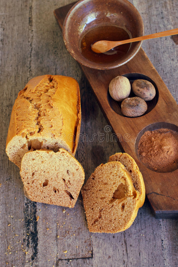 Thick gingerbread and spices royalty free stock photography