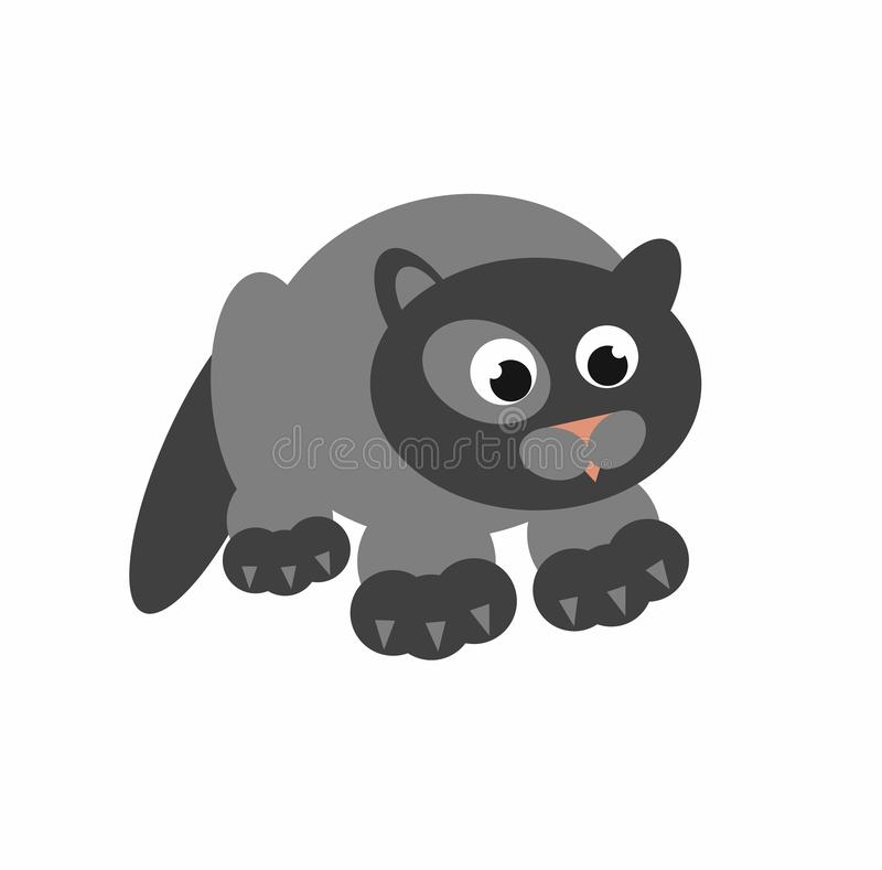 Thick grey cat funny 2D illustrate isolated on white. vector illustration