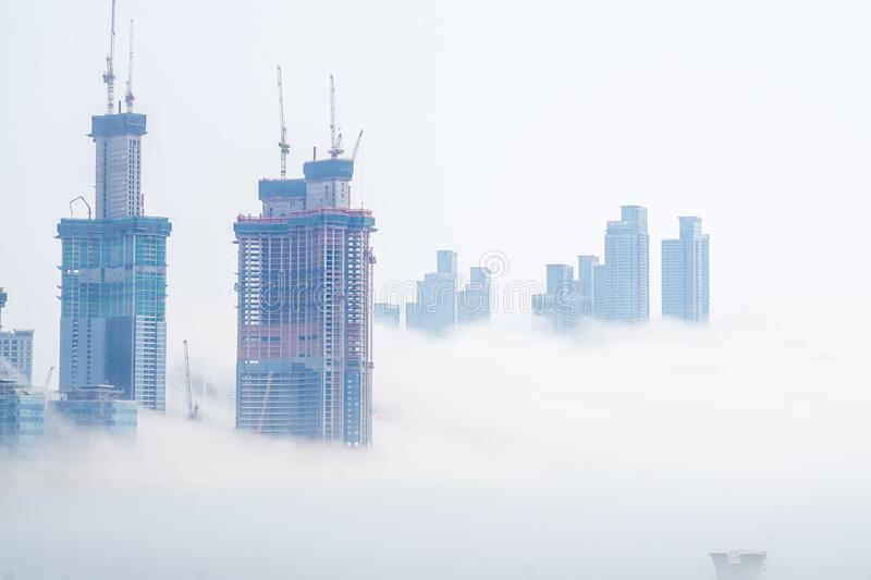 Thick large and heavy mist blow from the sea to the land and pass through skyscrapers and cover all other buildings in the area. royalty free stock photography