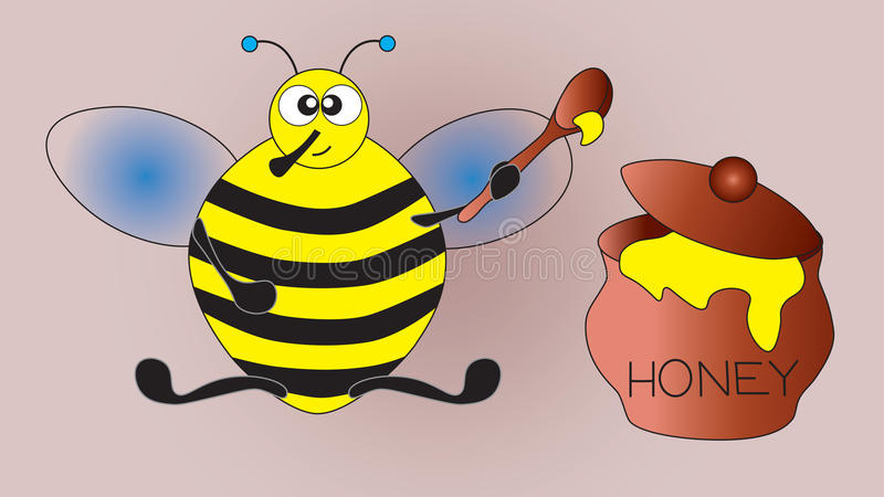 Thick pleased bee after a hearty breakfast. Thick pleased bee after a hearty breakfast neutral background royalty free illustration