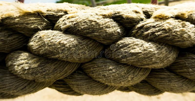 Closeup of a thick rope stock photo