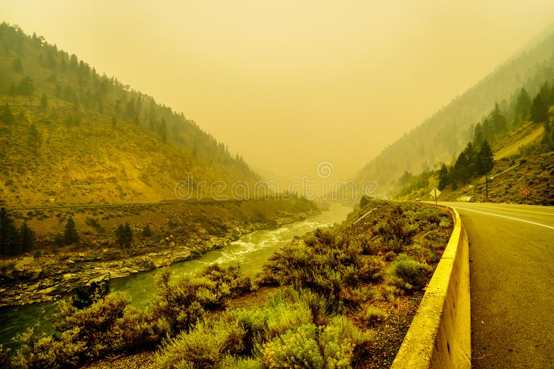 Thick Smoke in the Fraser Canyon in the Province of British Columbia, Canada. Thick Smoke in the Fraser Canyon from the 500 Forest Fires in the Province of royalty free stock photos