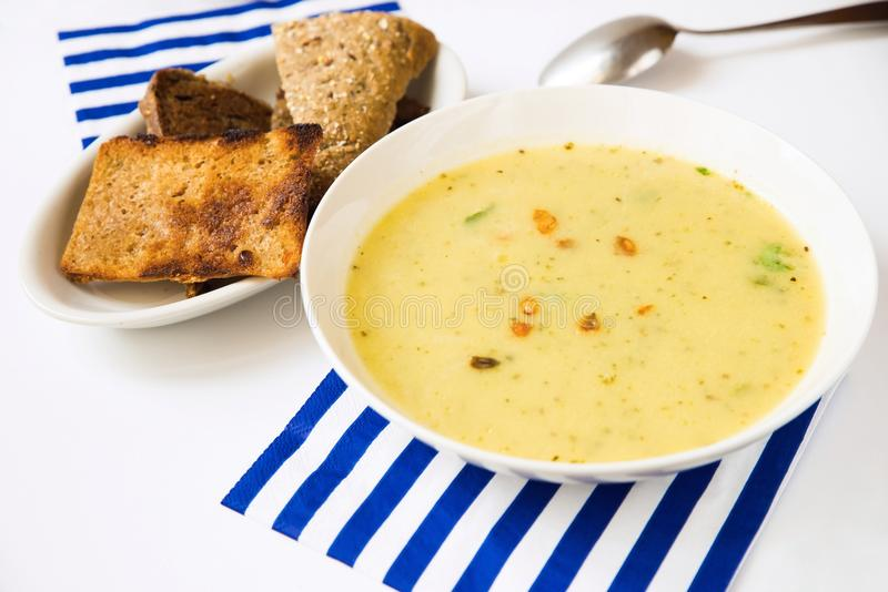 Thick soup from mixed vegetable stock image