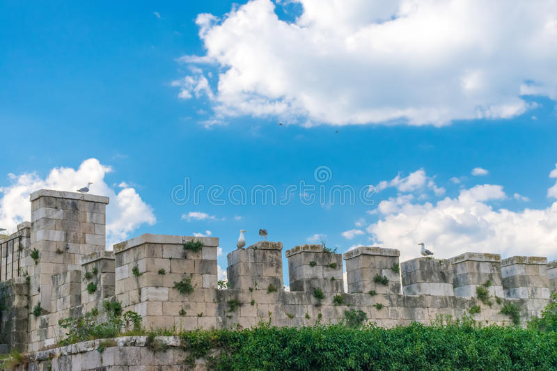 Thick stone walls of the fortress Mamula. stock photo