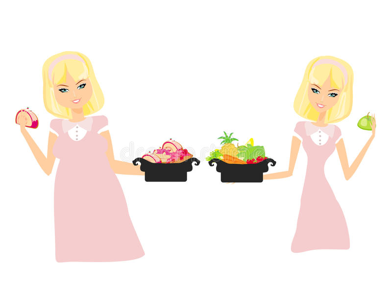 Thick and thin girls. Isolated illustration of thick and thin girls stock illustration