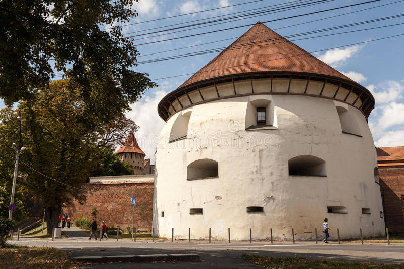 Thick tower in Sibiu. Thick Tower Sibiu (German Dicker Turm) is a tower built in the sixteenth century in the city of Sibiu, which was part of the fortifications stock images