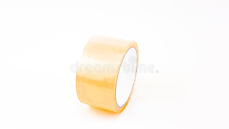 Thick transparent plastic tape with white big core royalty free stock photos