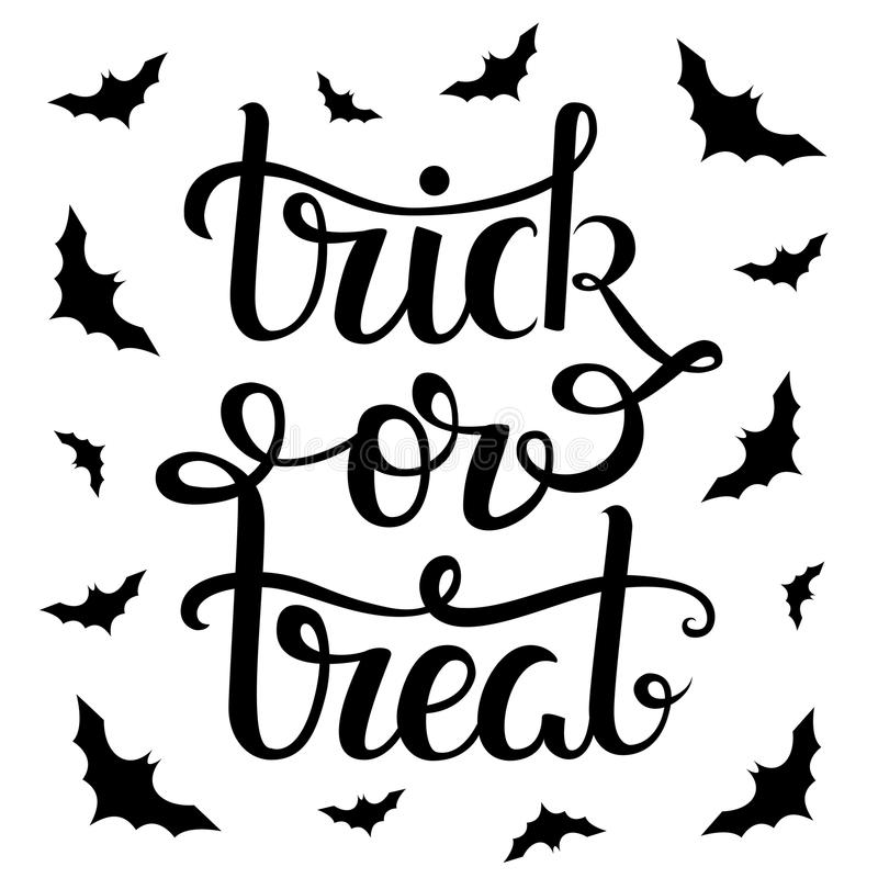 Thick or treat hand lettering poster. Vector illustration. Thick or treat hand lettering poster royalty free illustration