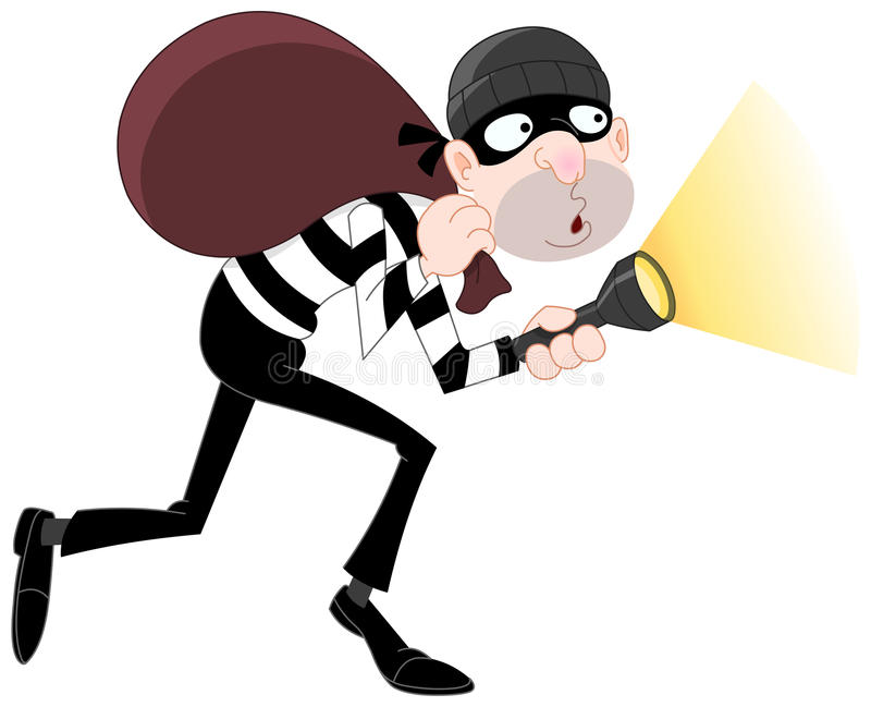 Thief. Vector illustration of a sneaking thief