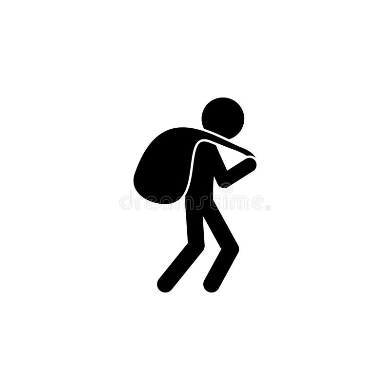 a thief with a bag of loot icon. Illustration of a criminal scenes icon. Premium quality graphic design icon. Signs and symbols co royalty free illustration