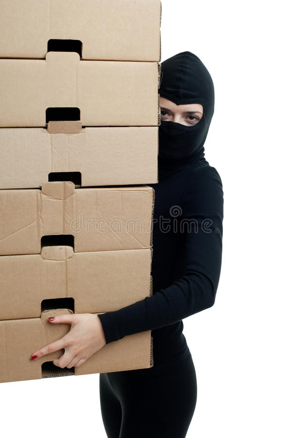 Download Thief In Balaclava With Boxes Stock Image - Image: 14926441
