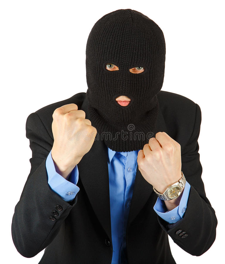 Thief in black mask in suit holding his fists. Isolated on white background stock images