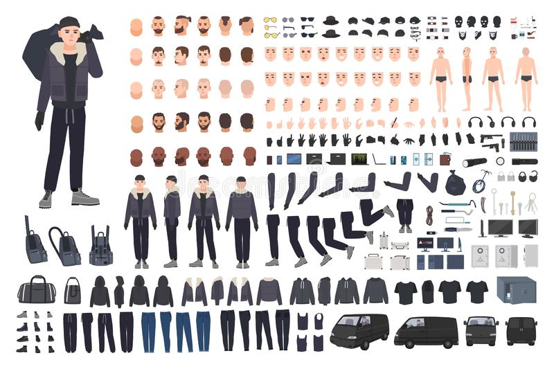 Thief, burglar or criminal creation set or DIY kit. Bundle of flat male cartoon character body parts in different. Postures, clothing and accessories isolated stock illustration
