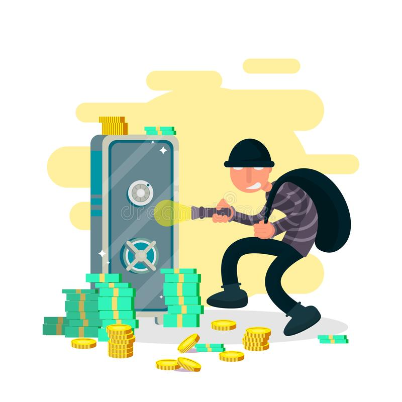 A thief, burglar or robber criminal cartoon character with his bag of swag and torch prowling in a house find a safe vector illustration