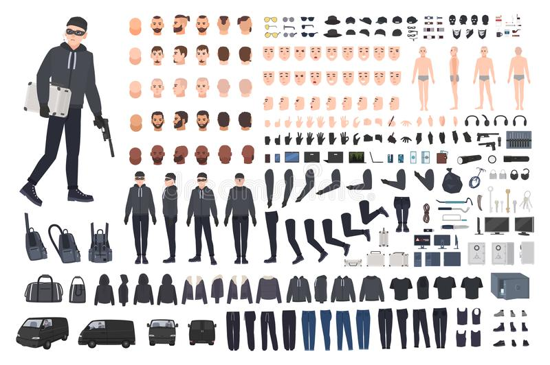 Thief, burglar or robber DIY kit. Collection of flat male cartoon character body parts in different positions, skin vector illustration