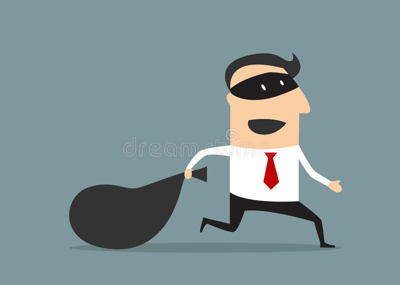 Thief businessman carrying money bag stock illustration