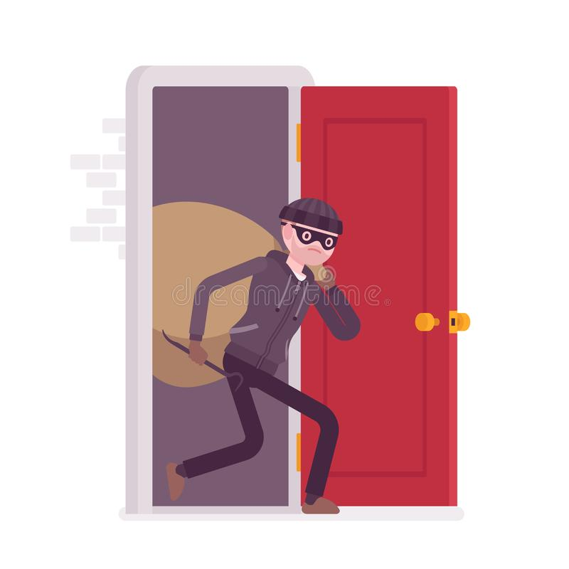 Thief carring loot through the door royalty free illustration