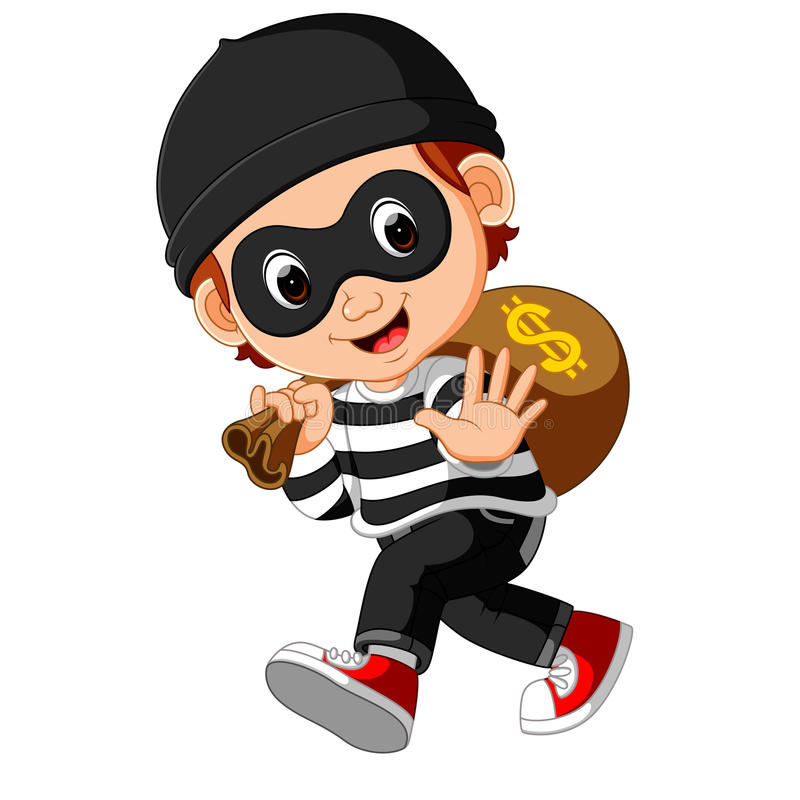 Thief cartoon carrying bag of money with a dollar sign royalty free illustration