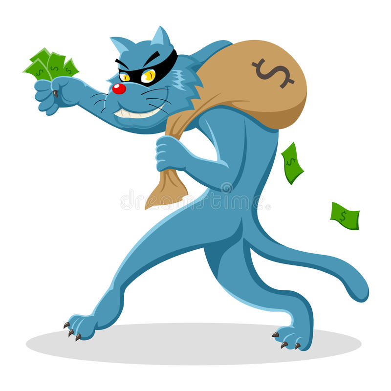 Download Thief Cat stock vector. Image of greed, animal, loot - 25886143