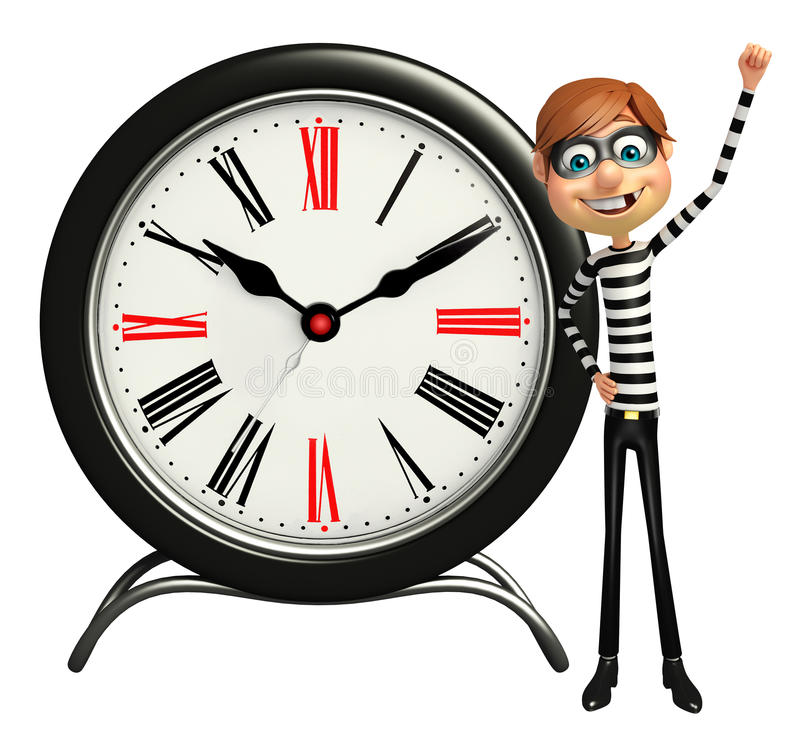 Thief with Clock vector illustration