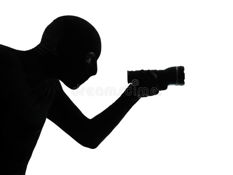 Thief criminal burglar portrait silhouette masked royalty free stock images