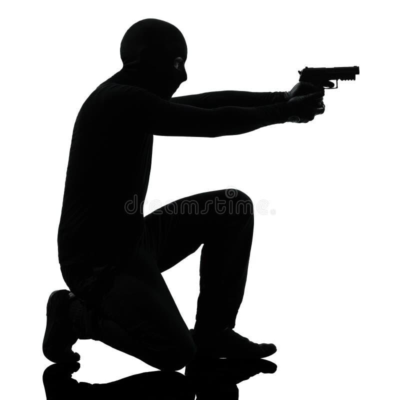 Thief Criminal Terrorist Aiming Gun Man Royalty Free Stock Images