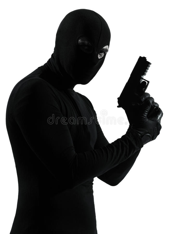 Download Thief Criminal Terrorist Holding Gun Portrait Stock Photo - Image: 28755156