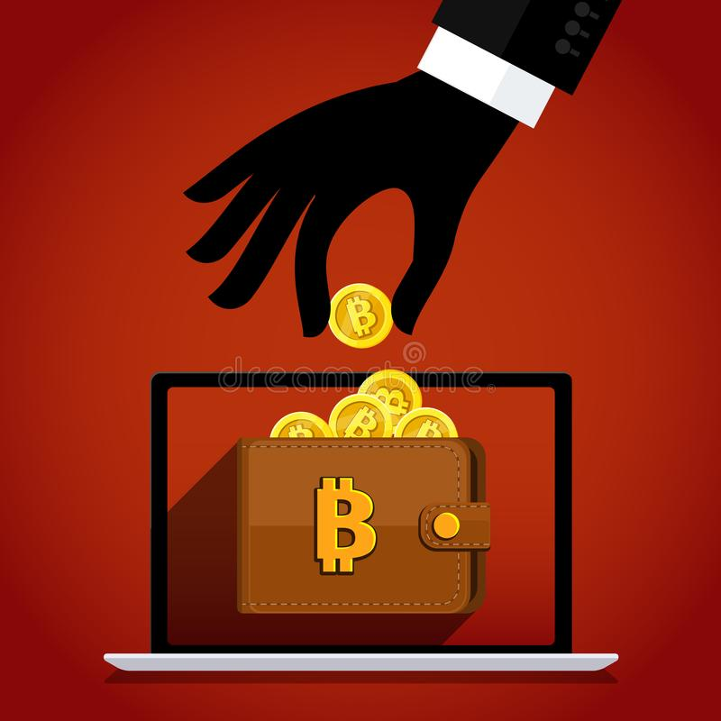 Thief and crypto currency. Steal virtual money. stock illustration