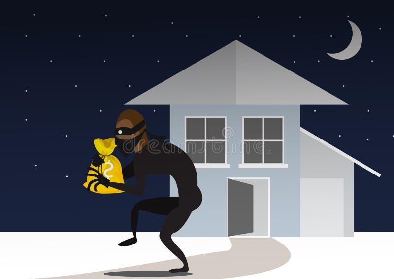 Thief And Door Bandit With Bag. Breaking Into House Through Door. vector illustration