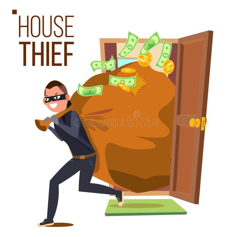 Thief And Door Vector. Bandit With Bag. Breaking Into House Through Door. Insurance Concept. Burglar, Robber In Mask royalty free illustration