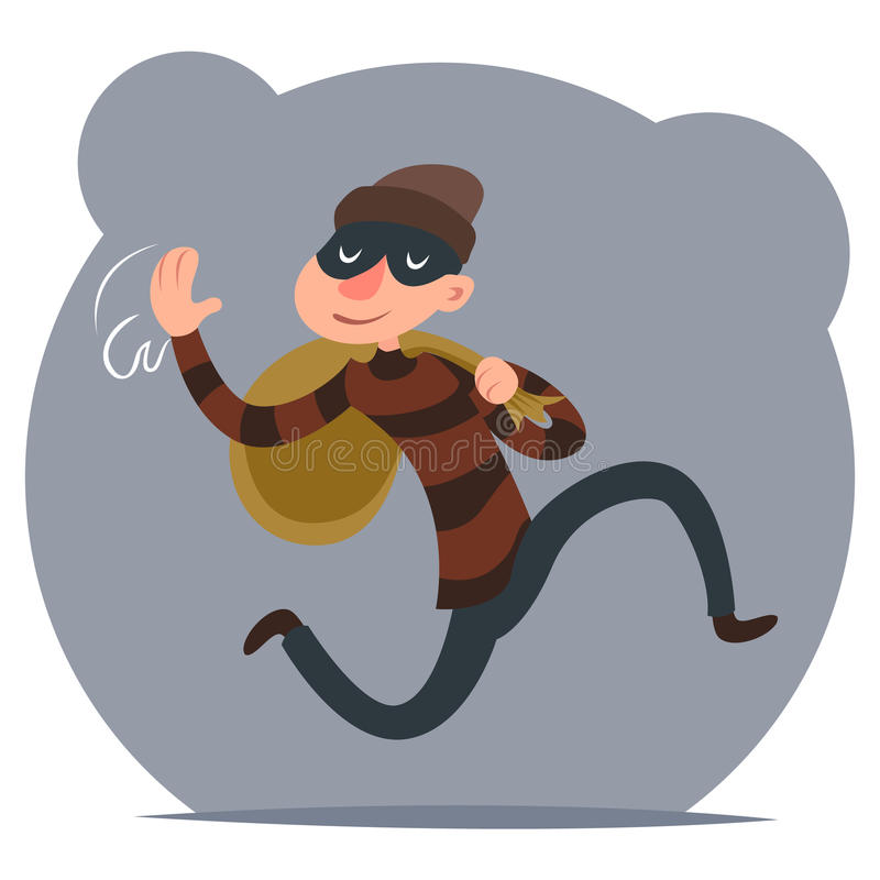 Thief Escapes with Loot Run Character Retro Cartoon Design Vector Illustration vector illustration