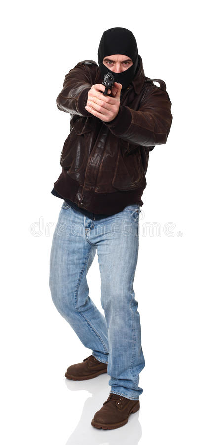 Thief with gun royalty free stock photos